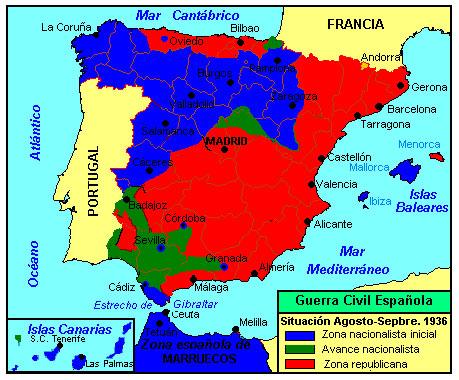 guerra civil española - mapa del desarrollo de la guerra - agosto 1936
