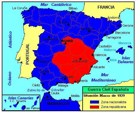 guerra civil española - mapa del desarrollo de la guerra - marzo 1939
