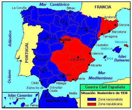 guerra civil española - mapa del desarrollo de la guerra - noviembre 1938