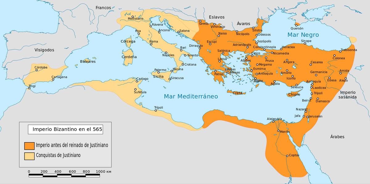 imperio bizantino - mapa del imperio en el año 565