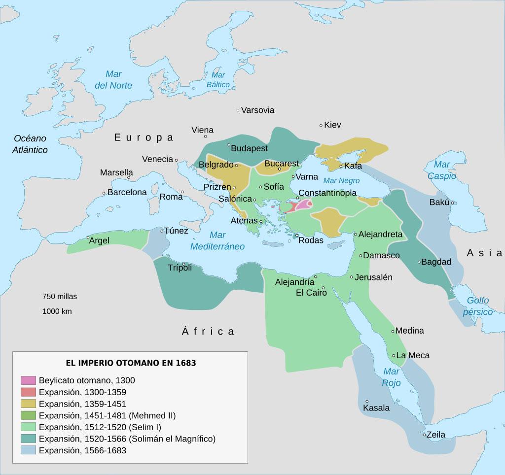 imperio otomano - mapa de expansión