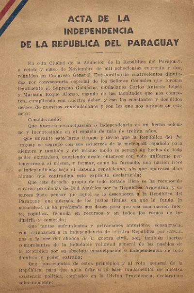 independencia paraguay acta