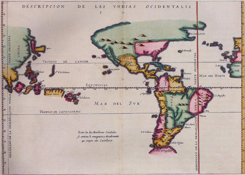 tratado de tordesillas - mapa