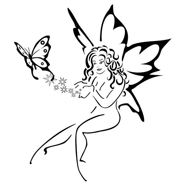 Fairy And Butterfly Stencils : Diseños para tatuajes femeninos de hadas