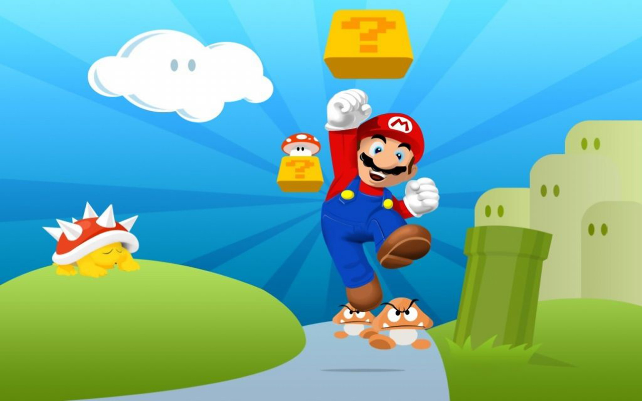 Behang Mario Bros ~ Wallpaper Super Mario Bros Jumping
