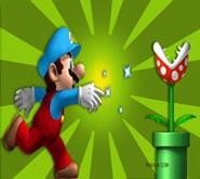 Wallpaper: Mario lanzando poder de hielo a Floro Piraña