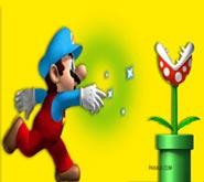 Wallpaper: Mario lanzando poder sobre Floro Piraña