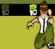 Wallpaper: Ben 10 sentado sobre fondo verde y negro