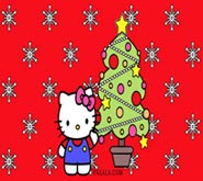 Wallpaper: Hello Kitty con Árbol de Navidad