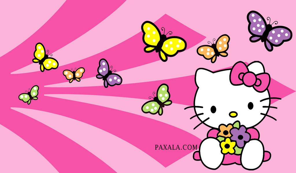 Imagenes De Mariposas De Colores: Wallpaper: Hello Kitty Con Mariposas De Colores