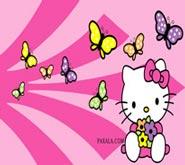 Wallpaper: Hello Kitty con Mariposas de Colores