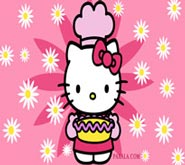 Wallpaper: Hello Kitty con Pastel y Flores