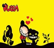 Wallpaper: Pucca y Mio en Fondo Amarillo